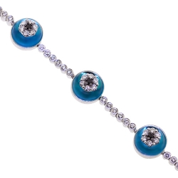 14K White Gold 2.35 ct Diamond Evil Eye Womens Bracelet 7.25 Inches