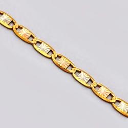 Italian 14K Three Tone Gold Mariner Link Womens Chain 3 mm