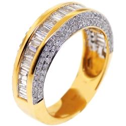14K Yellow Gold 1.71 ct Baguette Diamond Womens Wedding Ring