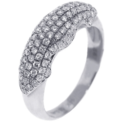 14K White Gold 0.81 ct Pave Diamond Womens Dome Ring