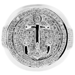 14K White Gold 1.84 ct Diamond Mens Anchor Signet Ring