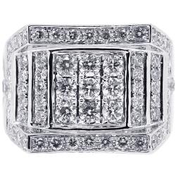 14K White Gold 2.74 ct Round Diamond Mens Signet Ring