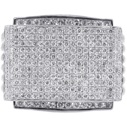 14K White Gold 3.15 ct Diamond Pave Mens Signet Ring