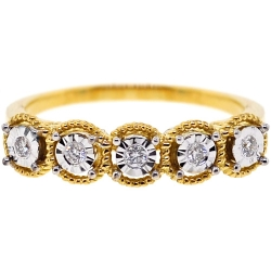 18K Yellow Gold 0.12 ct Five Diamond Womens Wedding Ring