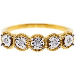 18K Yellow Gold 0.12 ct Five Diamond Womens Wedding Ring