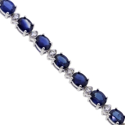 18K White Gold 25.18 ct Blue Sapphire Diamond Womens Tennis Necklace
