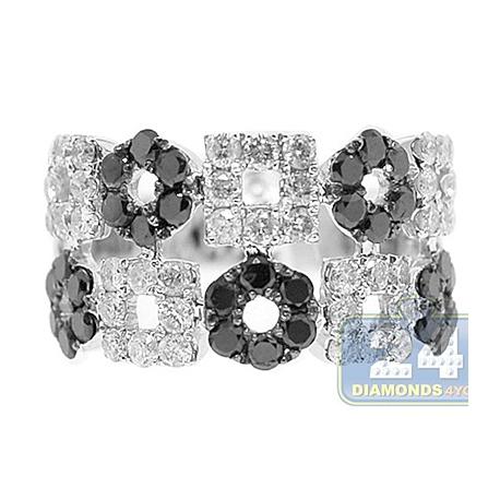 14K White Gold 1.88 ct Black Diamond Circle Square Womens Ring