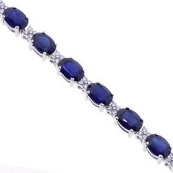 18K White Gold 19.63 ct Blue Sapphire Diamond Womens Bracelet