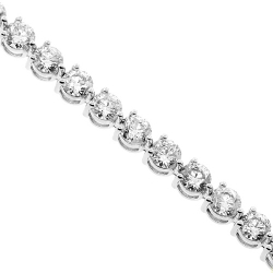 18K White Gold 2.10 ct 3-Prong Diamond Womens Tennis Bracelet