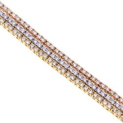 18K Gold 4.10 ct 3-Row Diamond Womens Tennis Bracelet 7.25 Inches