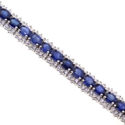 18K White Gold 13.10 ct Sapphire Diamond Womens Bracelet 7 Inches