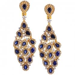18K Yellow Gold 8.03 ct Blue Sapphire Diamond Womens Dangle Earrings