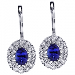 18K White Gold 2.94 ct Tanzanite Diamond Womens Cluster Earrings