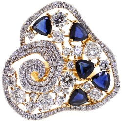 18K Yellow Gold 6.60 ct Diamond Blue Sapphire Womens Flower Ring