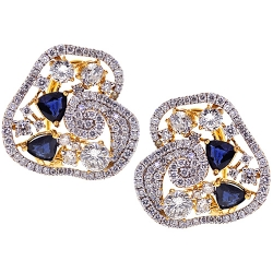 18K Yellow Gold 5.75 ct Diamond Sapphire Womens Huggie Earrings