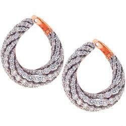 18K Rose Gold 4.55 ct Diamond Womens Puff Earrings