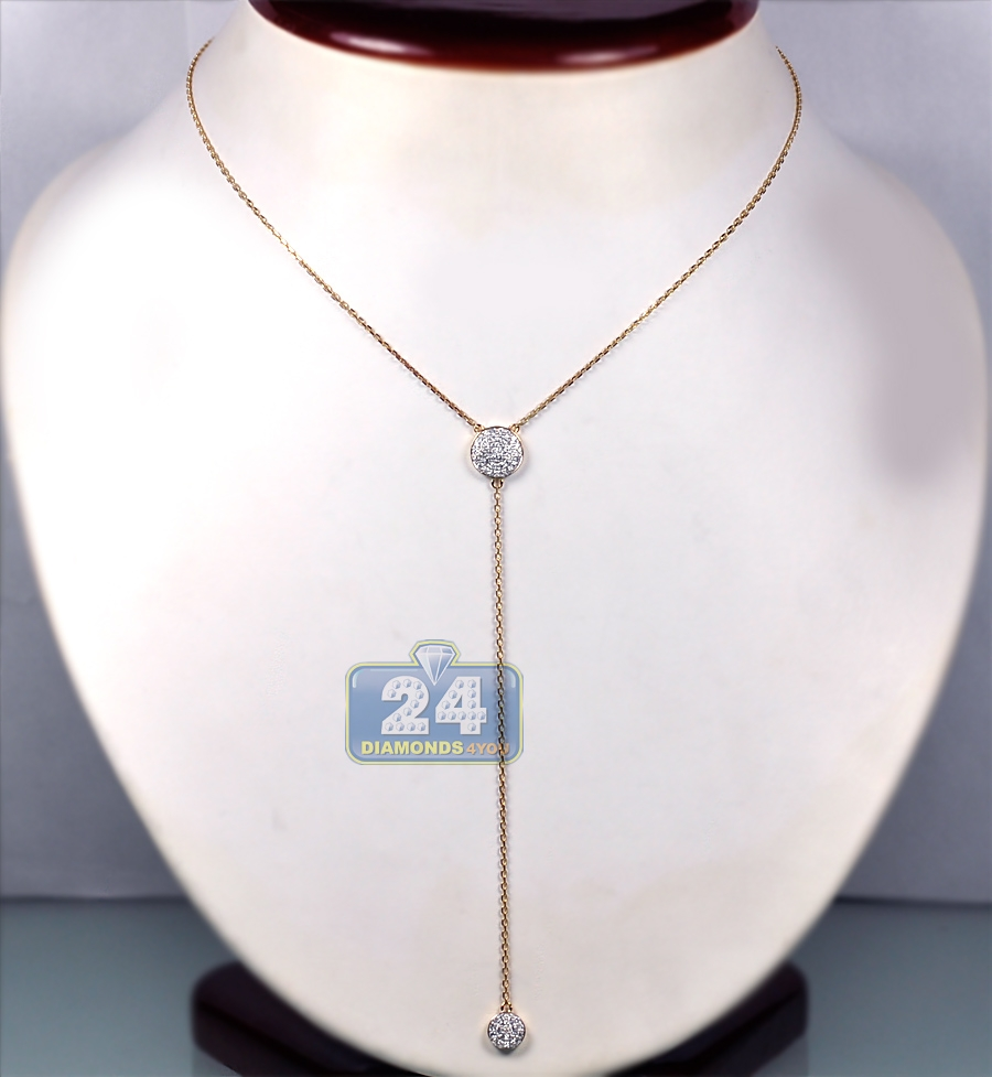 14k yellow gold ct diamond womens lariat necklace 18. Black Bedroom Furniture Sets. Home Design Ideas