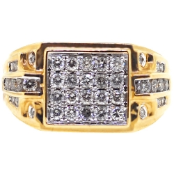 14K Yellow Gold 1.09 ct Round Diamond Mens Signet Ring