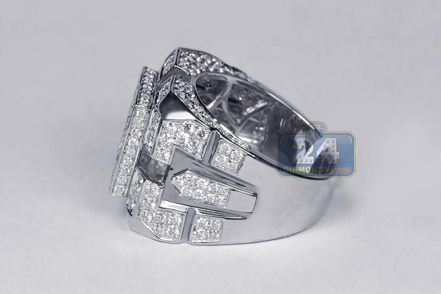 Mens Square Diamond Signet Ring 14K White Gold 4 07 ct