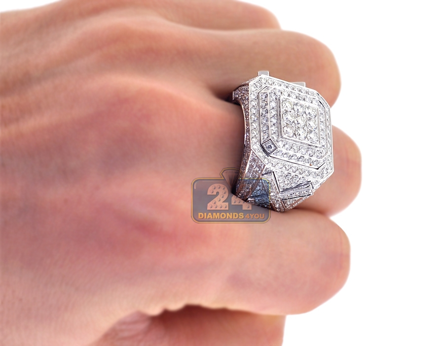 14k White Gold 4 18 Ct Iced Out Diamond Mens Ring
