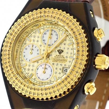 Aqua Master Sport 1.00 ct Diamond Mens Gold Watch