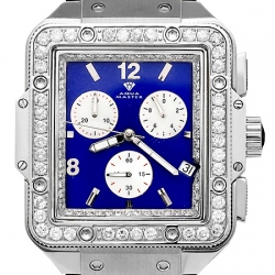 Aqua Master Square 4.25 ct Diamond Mens Blue Dial Watch