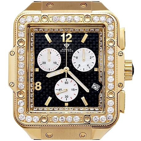 Aqua Master Square 4.25 ct Diamond Mens Yellow Gold Watch