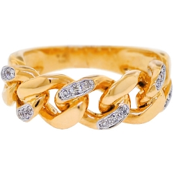 10K Yellow Gold 0.25 ct Diamond Miami Cuban Link Mens Ring