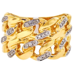 14K Yellow Gold 0.35 ct Diamond Miami Cuban Mens Ring