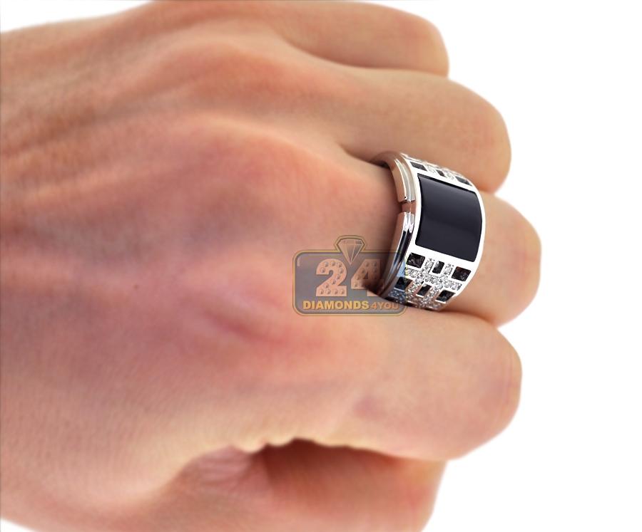 18k white gold ct diamond square onyx mens ring. Black Bedroom Furniture Sets. Home Design Ideas
