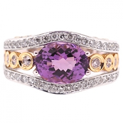 14K White Gold 5.10 ct Amethyst Diamond Womens Ring