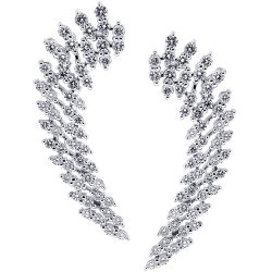18K White Gold 2.92 ct Diamond Cluster Womens Ear Crawlers