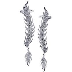 18K White Gold 1.00 ct Diamond Flame Womens Ear Crawlers