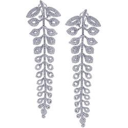 18K White Gold 5.79 ct Diamond Womens Floral Dangle Earrings