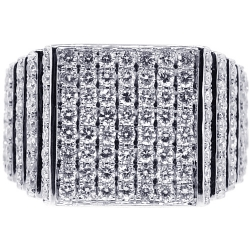 14K White Gold 2.54 ct Diamond Step Mens Ring