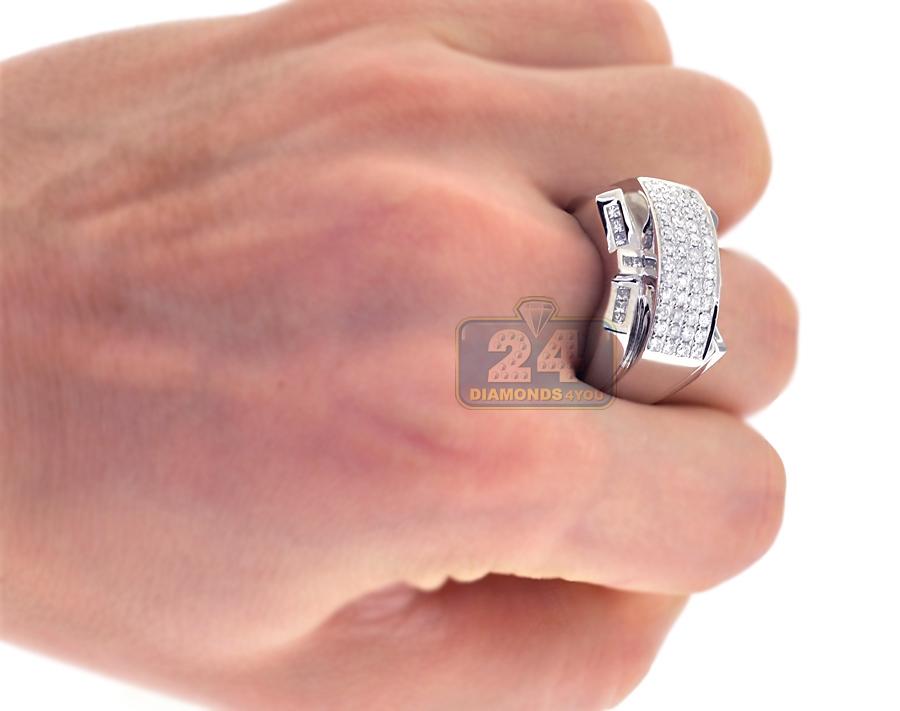 14K White Gold 1 15 ct Diamond Mens Pinky Ring