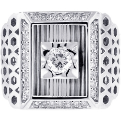 18K White Gold 1.05 ct Diamond Mens Solitaire Signet Ring