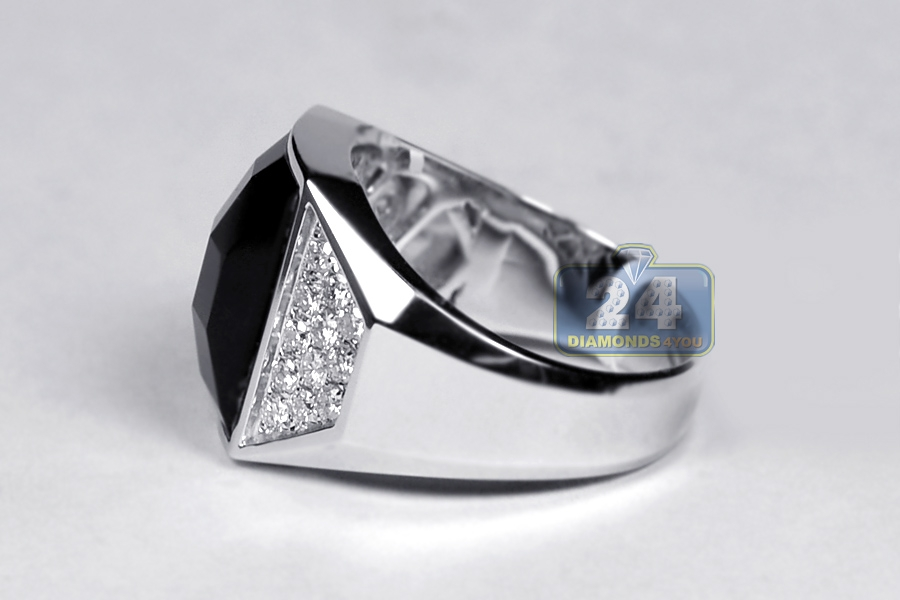 18k white gold 0 90 ct onyx mens ring