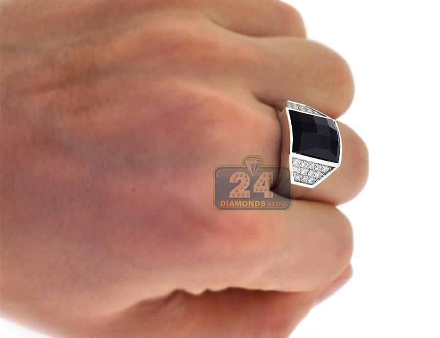 18k white gold ct diamond onyx mens ring. Black Bedroom Furniture Sets. Home Design Ideas