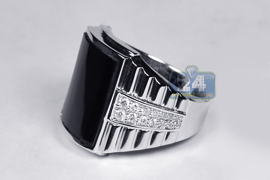18k white gold 0 53 ct onyx mens step ring