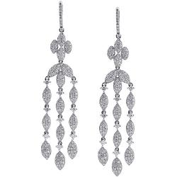 14K White Gold 5.36 ct Diamond Womens Chandelier Earrings