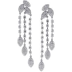 18K White Gold 6.72 ct Diamond Womens Chandelier Earrings