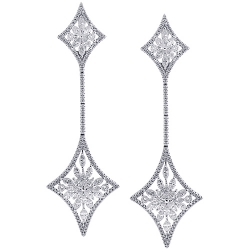 18K White Gold 5.89 ct Diamond Womens Dangle Kite Earrings