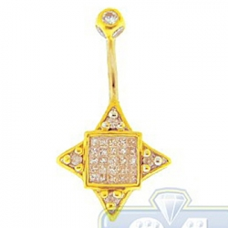 14K Yellow Gold 0.75 ct Mixed Diamond Womens Square Belly Ring