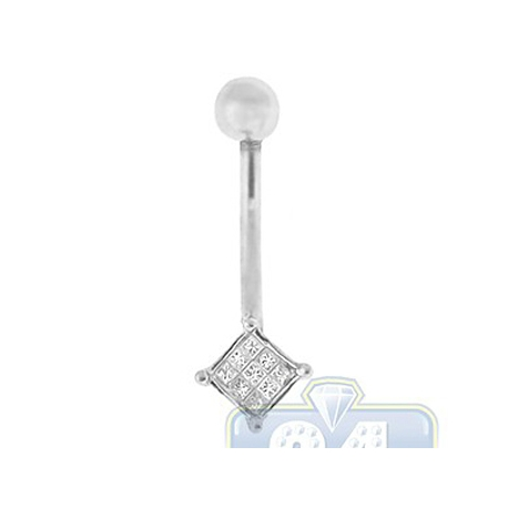 14K White Gold 0.30 ct Princess Diamond Womens Belly Ring