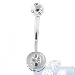 14K White Gold 0.20 ct Color Diamond Womens Belly Ring