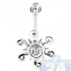 14K White Gold 1.00 ct Diamond Sun Womens Belly Ring