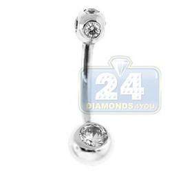 14K White Gold 0.75 ct Bezel Set Diamond Womens Belly Ring