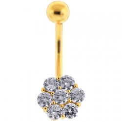 14K Yellow Gold Round CZ Cluster Womens Belly Ring