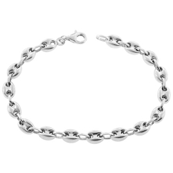Sterling Silver Puff Anchor Mens Bracelet 6 mm 8 inches